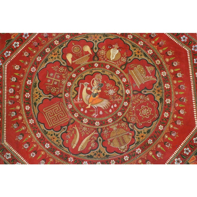 English 1920s Indian Painted Wooden Low Coffee Table For Sale - Image 3 of 6