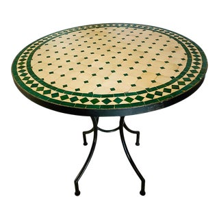 Moroccan Mosaic Bistro or Garden Table in Green and Off-White For Sale