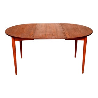 Danish Modern Teak Round Oval Dining Table For Sale