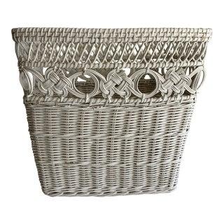 Vintage White Wicker Organizational Wastebasket For Sale