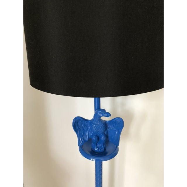 American Classical Vintage Royal Blue Federal Style Eagle Floor Lamp For Sale - Image 3 of 13