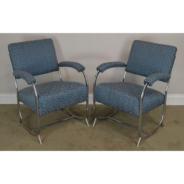 High Quality Chromed Steel Frame Pair of Custom Upholstered Vintage Art Deco Style Armchairs