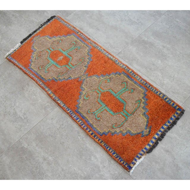 """Dimensions: 18.5"""" x 42.3"""" Excluding Fringe Material : Wool on cotton. Age: About 40-50 years old Weight: ~ 3lbs"""