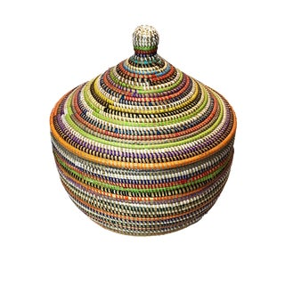 "Basket W/ Lid Senegal West Africa 13.5"" For Sale"