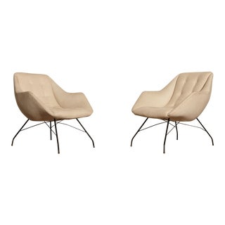 1950s Vintage Forma Brazil Carlo Hauner and Martin Eisler Shell 'Concha' Lounge Chairs - a Pair For Sale
