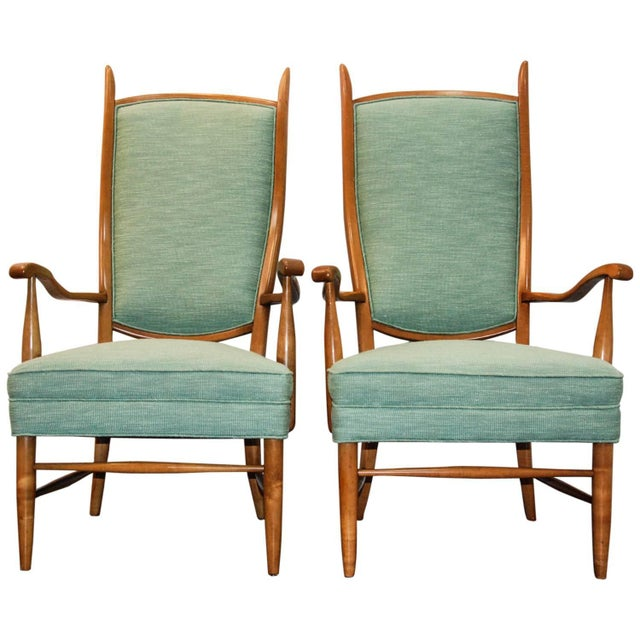 Green 1950's Maxwell Royal American Designed High Back Upholstered Chairs - a Pair For Sale - Image 8 of 8