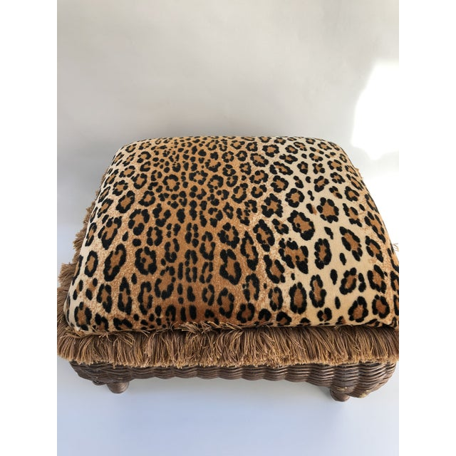 Vintage Boho Chic Hollywood Glam Fringed Wicker Leopard Stool For Sale - Image 4 of 8