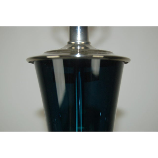 Marbro Arthur Percy Swedish Glass Table Lamp Teal Blue For Sale In Little Rock - Image 6 of 7