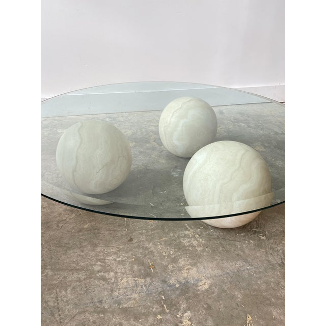 Postmodern Memphis Style Marble and Glass Top Coffee Table For Sale - Image 3 of 13