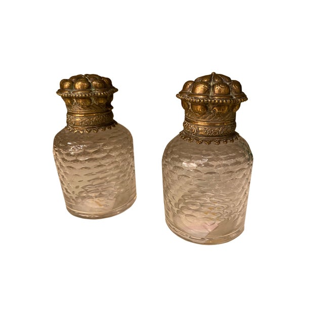 Metal Bronze and Glass Inkwells From France - a Pair For Sale - Image 7 of 7