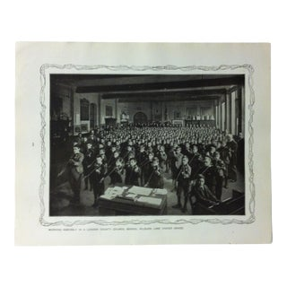 """1906 """"Morning Assembly in a London County Council School"""" Famous View of London Print For Sale"""