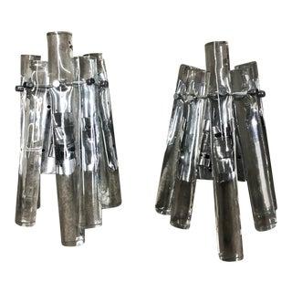 Italian Glass Rod Sconces - a Pair For Sale