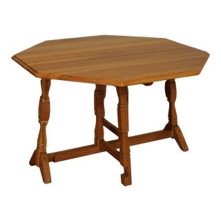 "Brandt Ranch Oak 48"" Gate Leg Drop Leaf Table with Horseshoe For Sale"