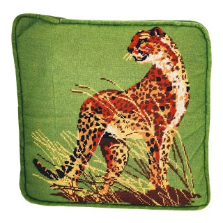 Vintage Cheetah Cat Velvet Green Chinoiserie Needlepoint Pillow For Sale