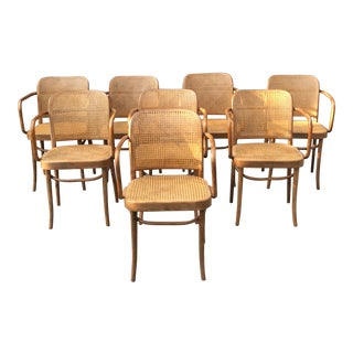 Vintage Thonet Hoffman Prague Cane & Bentwood Chairs- Set of 8 For Sale