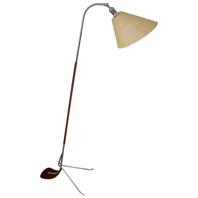 Chrome and Leather Floor Lamp For Sale