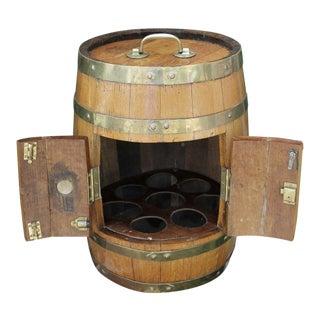 Antique English Oak Brass Banded Barrel Bar Wine Liquor Cabinet For Sale