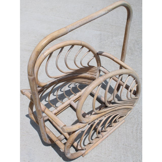Boho Chic Large Vintage Rattan Basket With Handle For Sale - Image 3 of 10