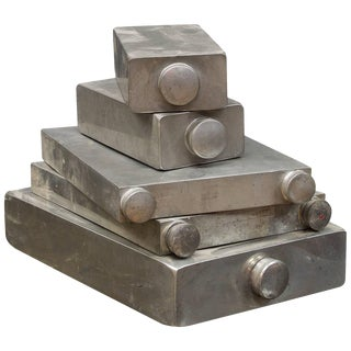 Early 19th Century Sculptural English Pewter Travel Slab Flasks Prohibition For Sale