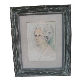 Mid-Century Watercolor Portrait Painting, Framed For Sale