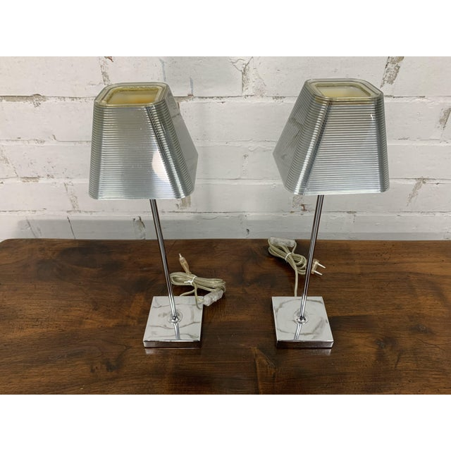 """A pair of very elegant vintage French aluminized silver table lamps """"Igor Paris"""". Vintage furniture is great for the..."""