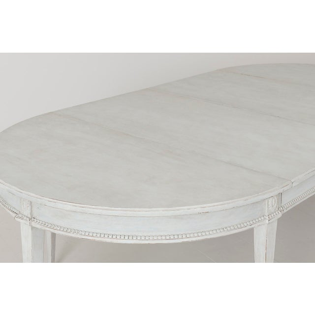 Swedish Gustavian Style Two-Leaf Extension Dining Table With Original Brass Feet For Sale In Wichita - Image 6 of 11