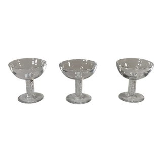 Steuben Mid-Century Modern Air Twist Signed Crystal Martini Glasses - Set of 3 For Sale