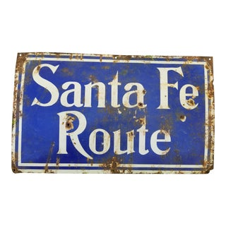 Antique Enamel Santa Fe Railroad Sign For Sale