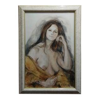 "Sheldon C Schoenberg ""Portrait of Beautiful Nude Woman"" Painting C.1970s For Sale"