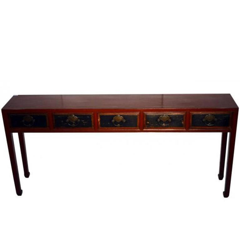 Mid 19th Century Red Lacquer Console Table With Black Lacquer Drawers From  19th Century, China