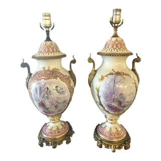 Bronze Mounted French Porcelain Serves Urns Converted into Table Lamps - a Pair For Sale