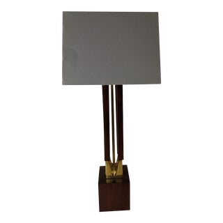 1960s Danish Mid Century Teak & Brass Lamp With Shade For Sale