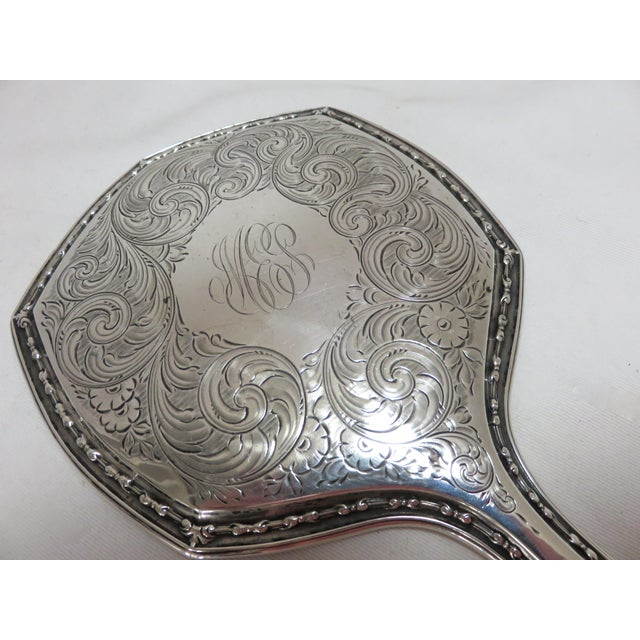 Fine Hand Engraved Antique Sterling Silver Ladies Vanity Mirror For Sale - Image 4 of 7