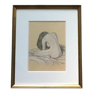 Tom Dameron Framed Orignal Charcoal Drawing For Sale