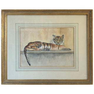 "Walter Pach ""Le Tigre"" Watercolor and Pencil on Paper For Sale"
