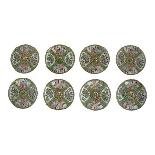 Antique Chinese Qing Rose Medallion Porcelain 6-Inch Cupped Plates Set of 8 For Sale