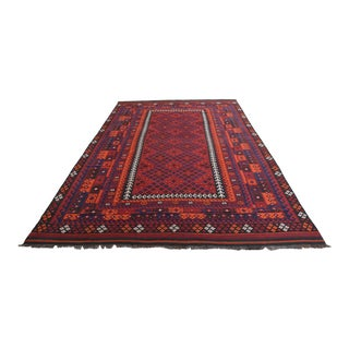 Vintage Afghan Maimana Kilim Organic Wool For Sale