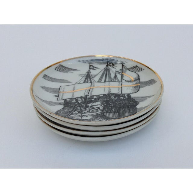 "1960s Fornasetti Attr. Tall Ships ""Velieri"" Coasters - Set of 4 For Sale - Image 5 of 11"