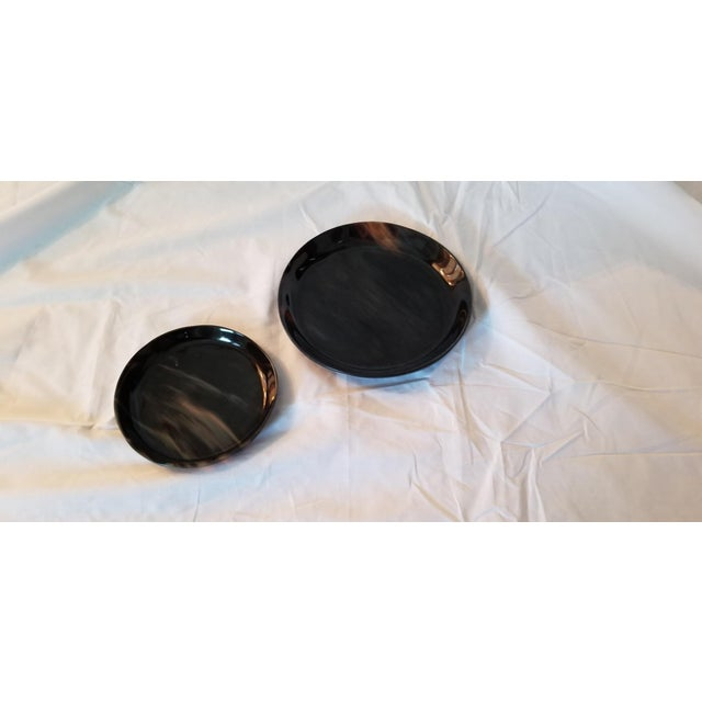 Brown Lewes Round Tray Set - a Pair For Sale - Image 8 of 8