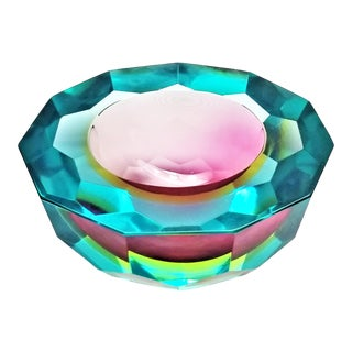 1970s Murano Glass Faceted Bowl by Mandruzzato For Sale