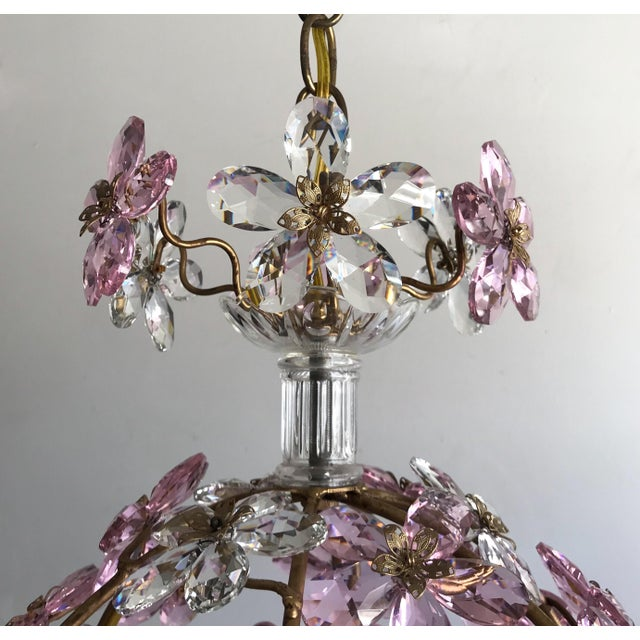 Pink Floral Crystal Globe Beaded Chandelier For Sale - Image 4 of 5