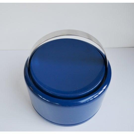 1960s Vintage Danish Modern Cobalt Blue Ice Bucket For Sale - Image 5 of 9
