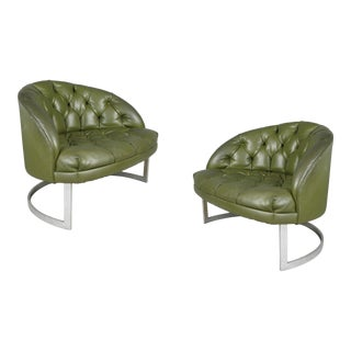 1960's Diamond Tufted Green Vinyl Lounge Chairs - a Pair For Sale