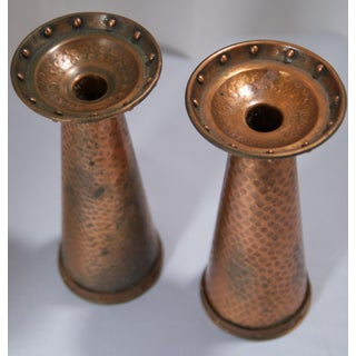 1920s Arts & Crafts Hand-Hammered Copper Candle Holders - a Pair Preview