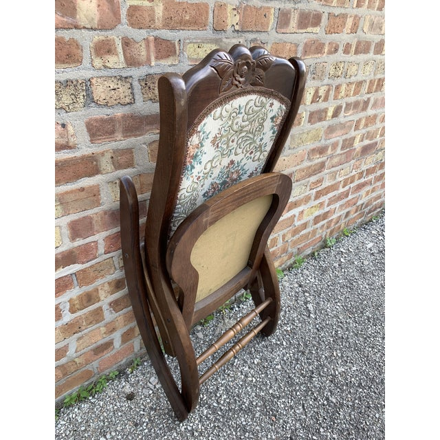 Brown Vintage Victorian Style Upholstered Folding Rocking Chair For Sale - Image 8 of 10