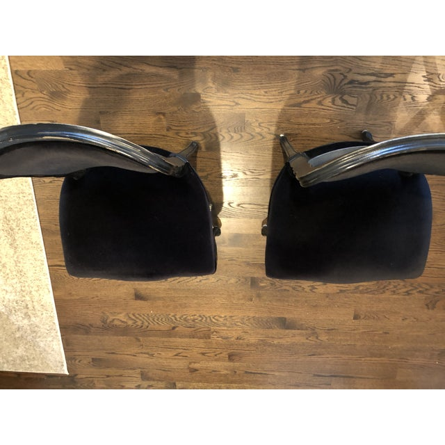 Traditional French Black Velvet Side Chairs - a Pair For Sale - Image 4 of 10
