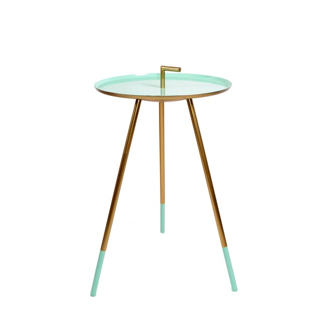 Mid-Century Modern Round Three-Legged Brass & Turquoise Enamel Side Table 1950s For Sale - Image 13 of 13
