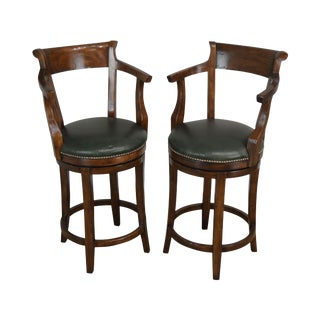 Guy Chaddock & Co. Hartford Pair Leather Seat Swivel Bar Stools For Sale