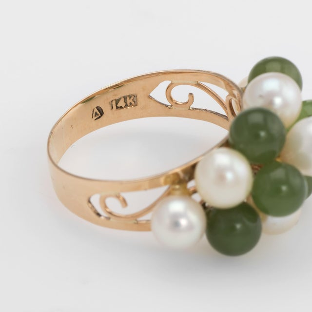 Metal Vintage Jade Cultured Pearl Ring 14 Karat Yellow Gold Estate Fine Jewelry For Sale - Image 7 of 8