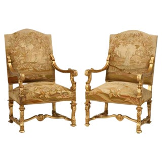 Circa 1900 French Gilded Throne Chairs - A Pair For Sale